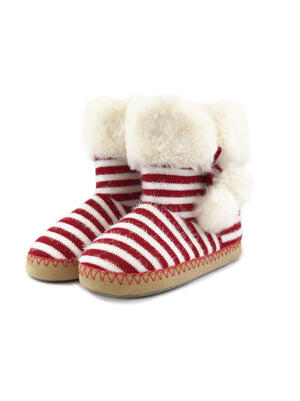 slipper boots color-fuzzy white red