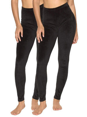 velour winter leggings color-black