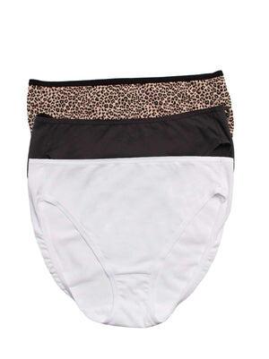 Felina Cotton Modal Full Coverage Hi Cut Bikini 3-Pack color-cheetah combo