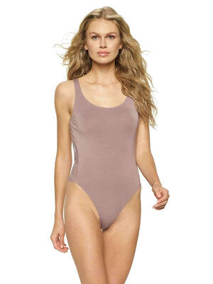 Felina Finesse Modal Bodysuit With Lace Back color-mink